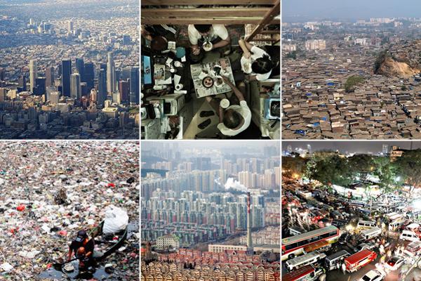Mega-cities clockwise from top left:  Los Angeles, Hong Kong, Mumbai, Manila, Qingdao, Jakarta.