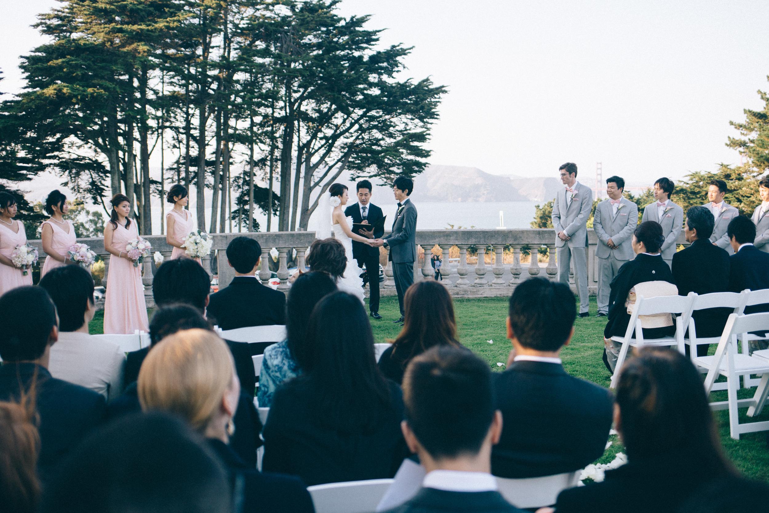 Outdoor wedding ceremony at Legion of Honor in San Francisco, California