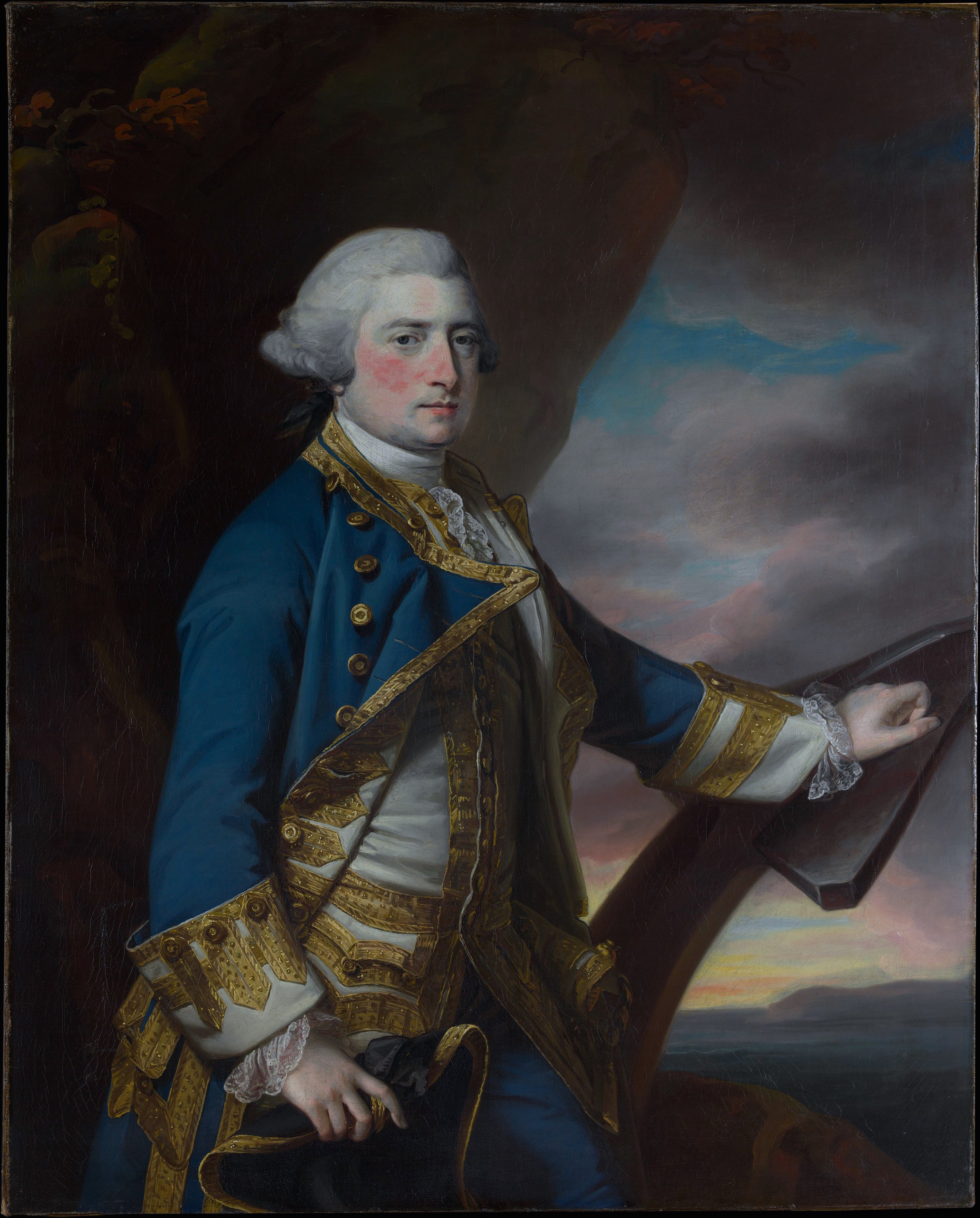 A Francis Cotes portrait of Admiral Harry Paulet ( metmuseum.org ), resplendent in gold-buttoned naval regalia. The modern blazer is a distant relative of 18th and 19th century British Royal Navy uniforms, its name believed to have been inspired by the frigate HMS  Blazer .