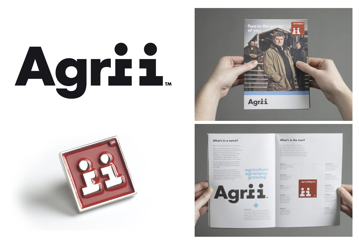 The Agrii marque makes clever use of the negative space with the two 'ii''s. This then gets pulled out and used as an independentidentifier. Introductory materials were produced to introduce the merger to the exisiting employees.