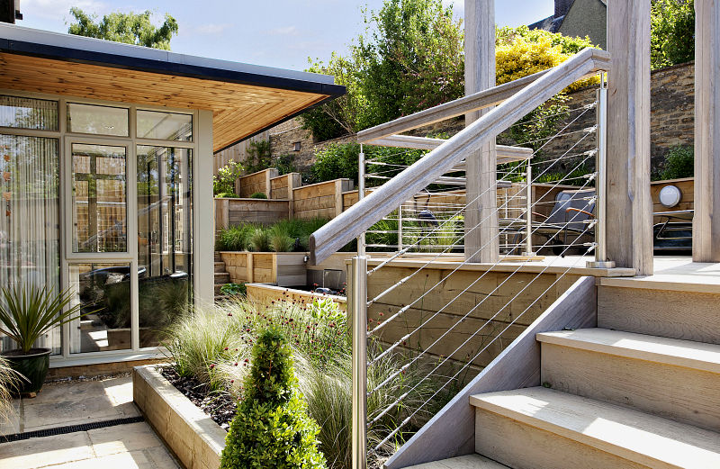 Steeply Sloping Garden with Decked Terraces
