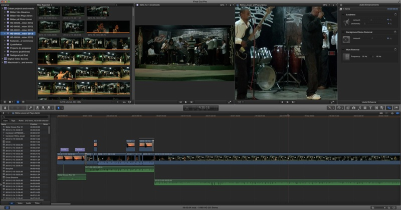 Example from post-processing an  event  in Final Cut Pro/X.