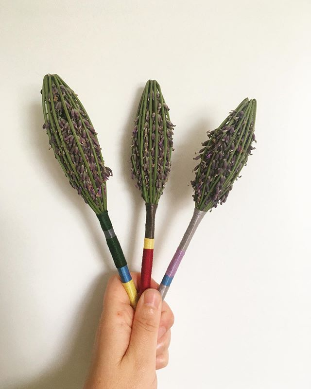 Harvesting the last bit of my lavender. I could make these non stop, they smell so good. #lavenderwands