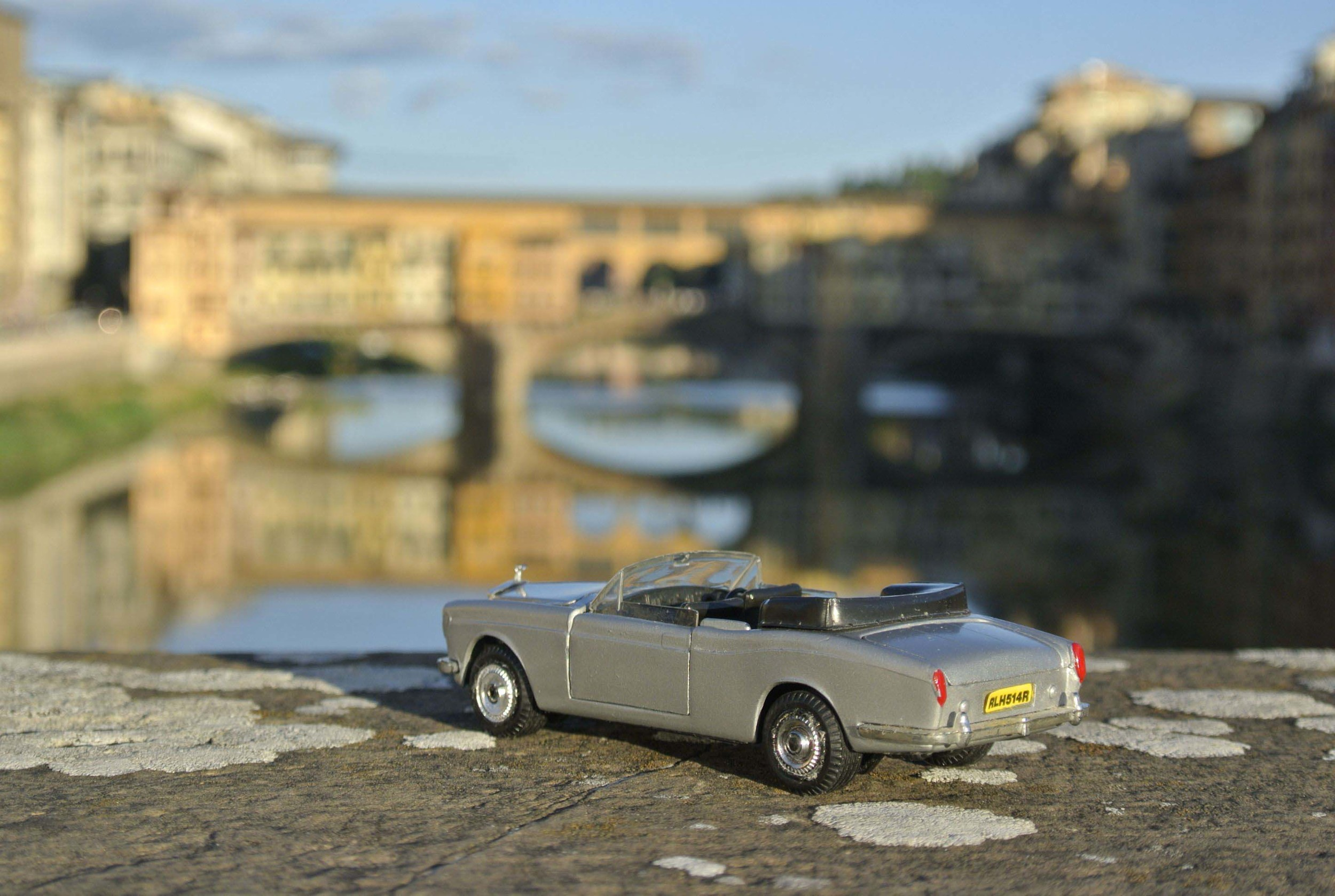 Rolls-Royce Corniche takes in the view at the Ponte Vecchio in Florence, Italy