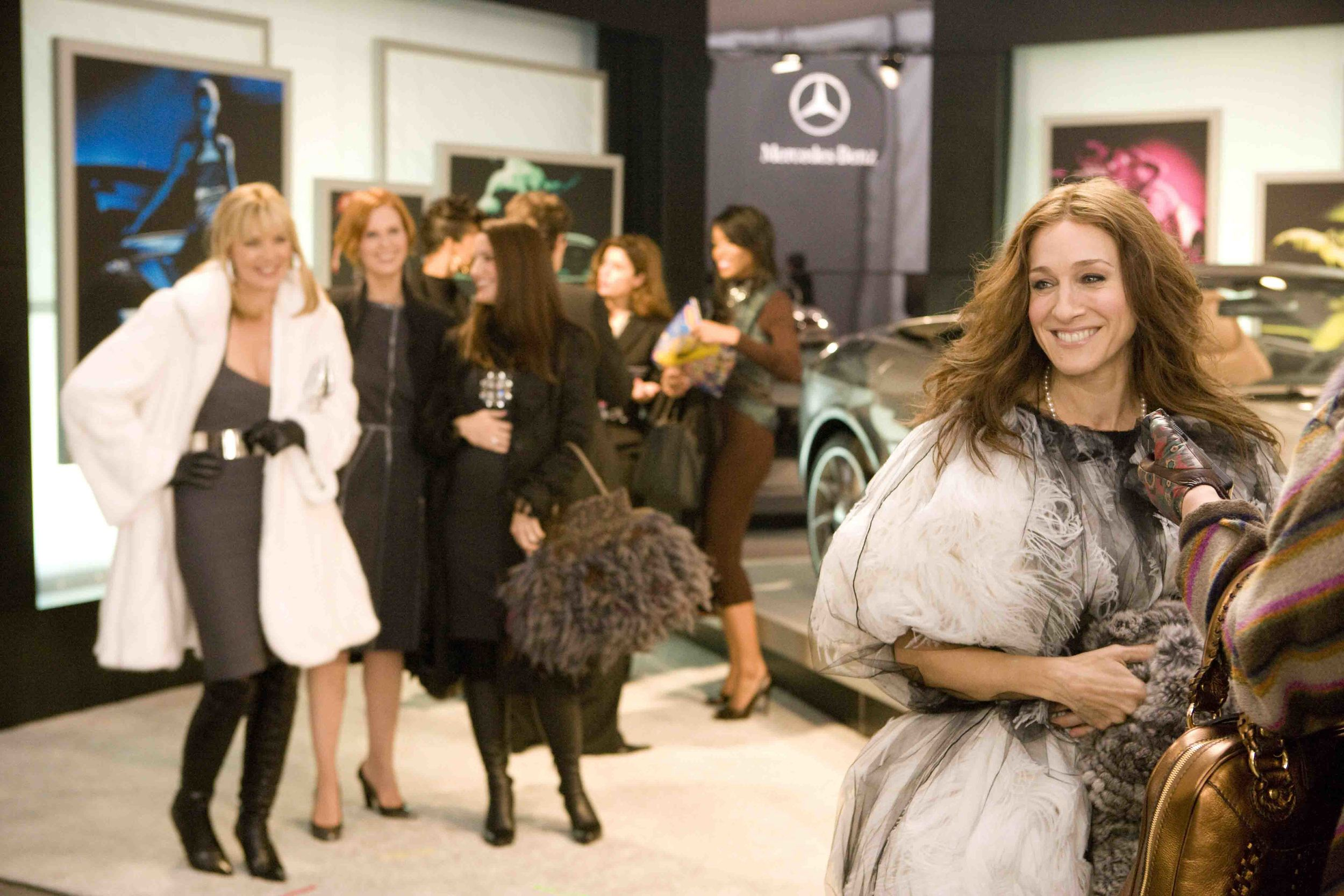 "Carrie and the gang from ""Sex and the City: The Movie"" lend a daintier flair to product placement at Mercedes-Benz Fashion Week in 2006"