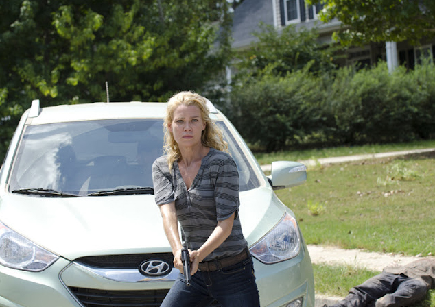 "The Hyundai Tucson survives for ""The Walking Dead,"" Season 4. Sadly ""Andrea"" (Laurie Holden) did not."
