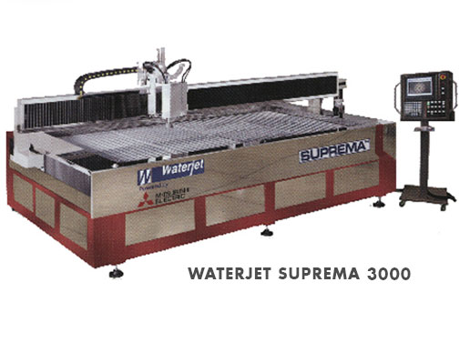 """- 5' x 10' Work Envelope - X-Axis Travel118"""" - Y-Axis Travel63"""" - Z-Axis Travel6"""" - Intensifier Pump Output60,000 PSI - Intensifier Pump Motor50 HP"""