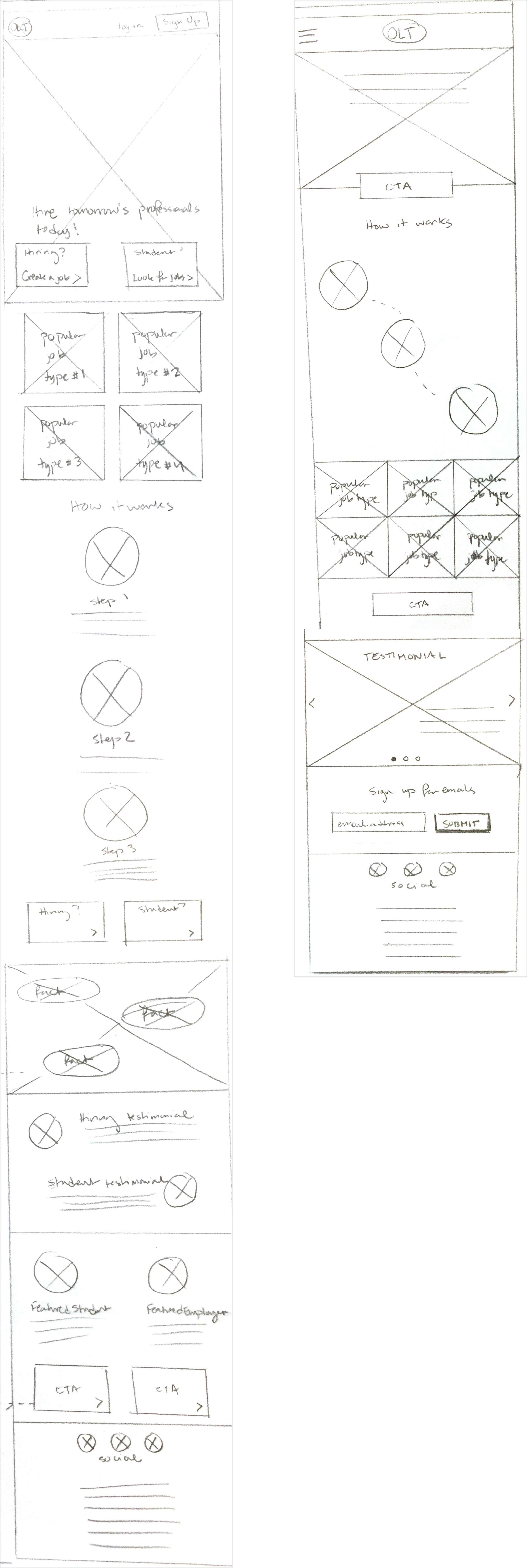 Two initial homepage sketches