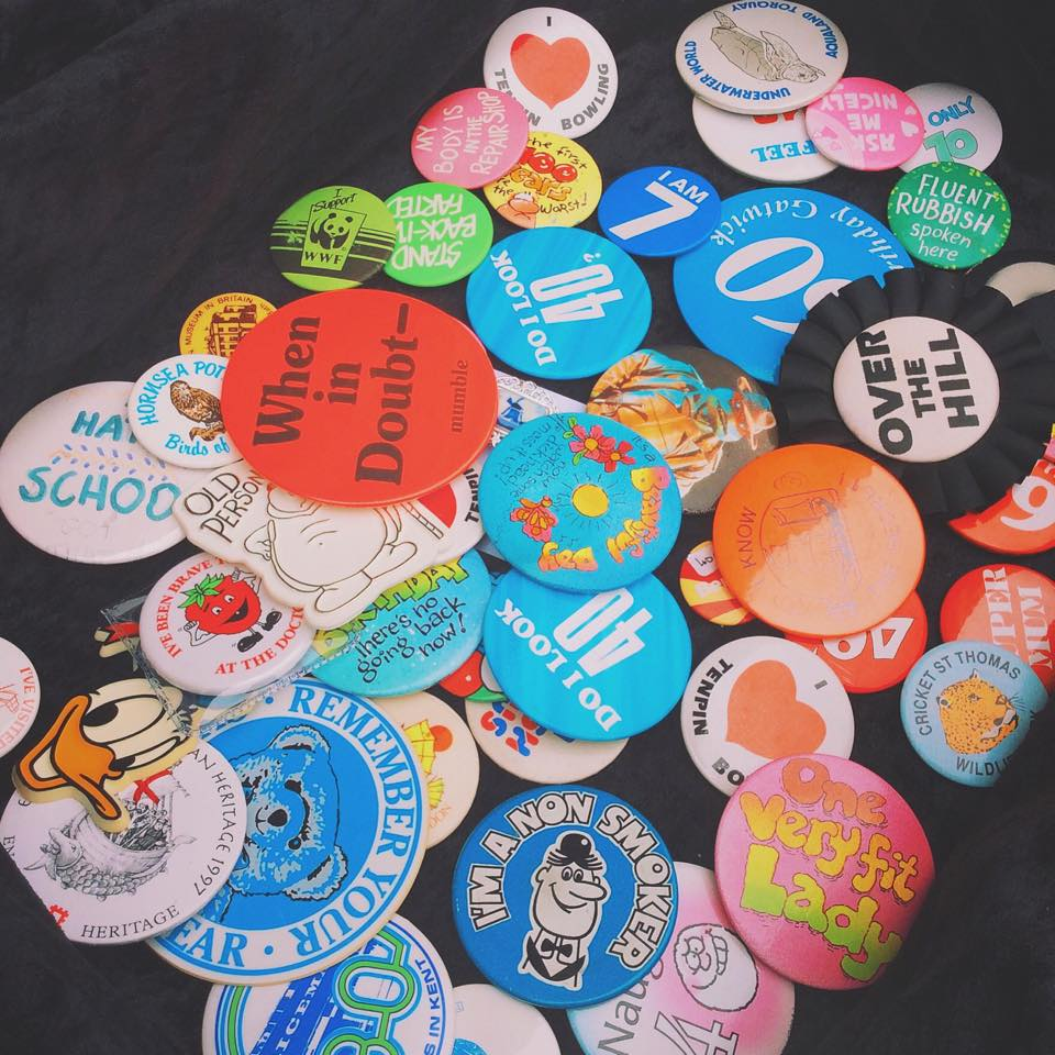 Badges on the stall