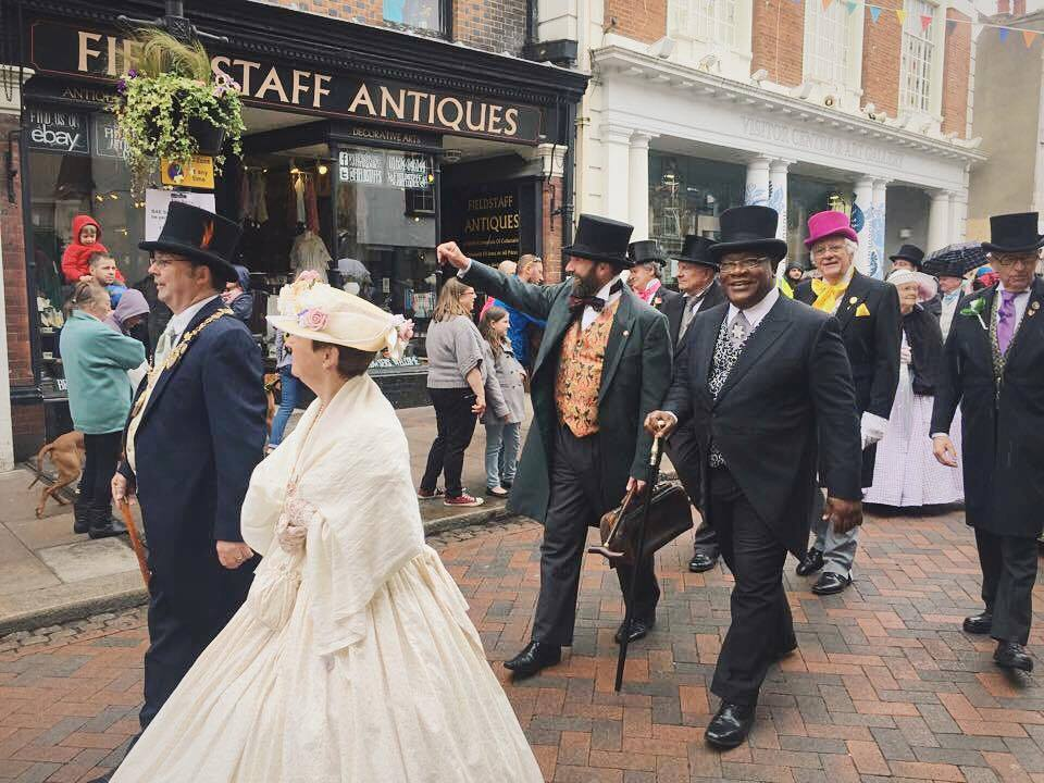 The Mayor & Mayoress with victorian gentlemen in the parade
