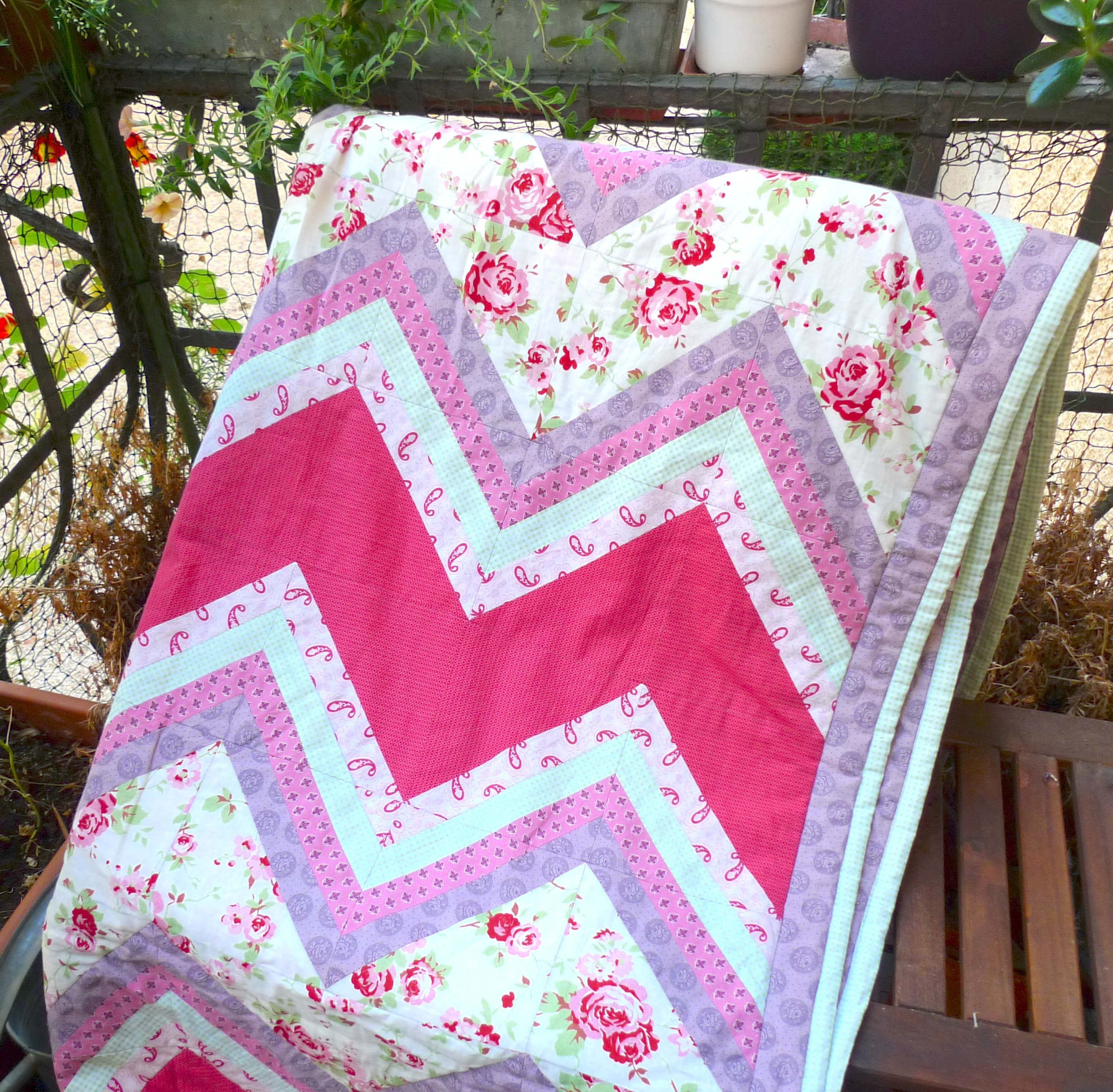 The Country Garden Quilt, taken on our balcony (Sept 2013)