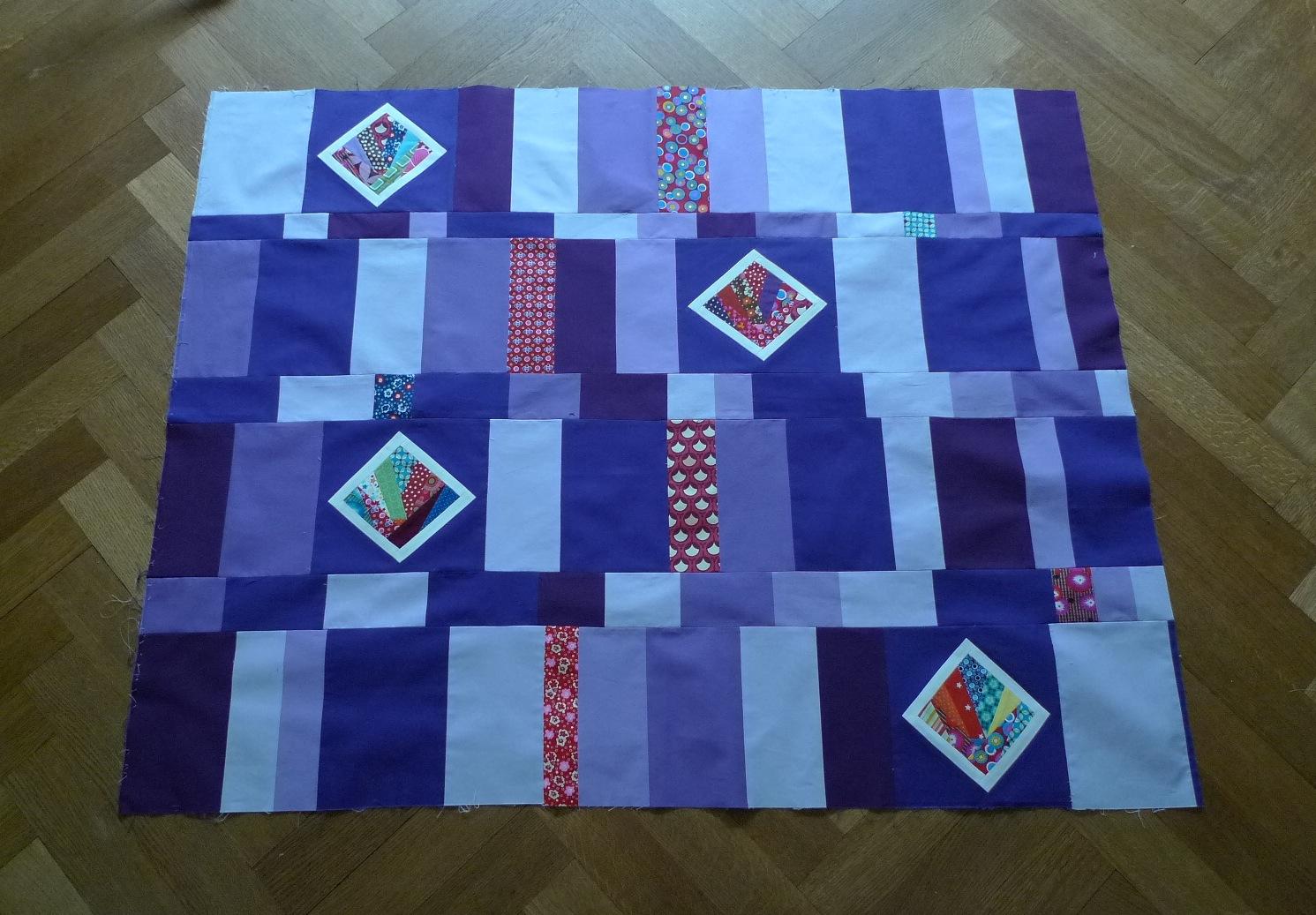 Improvised quilt using paper pieced blocks (Nov 2013)