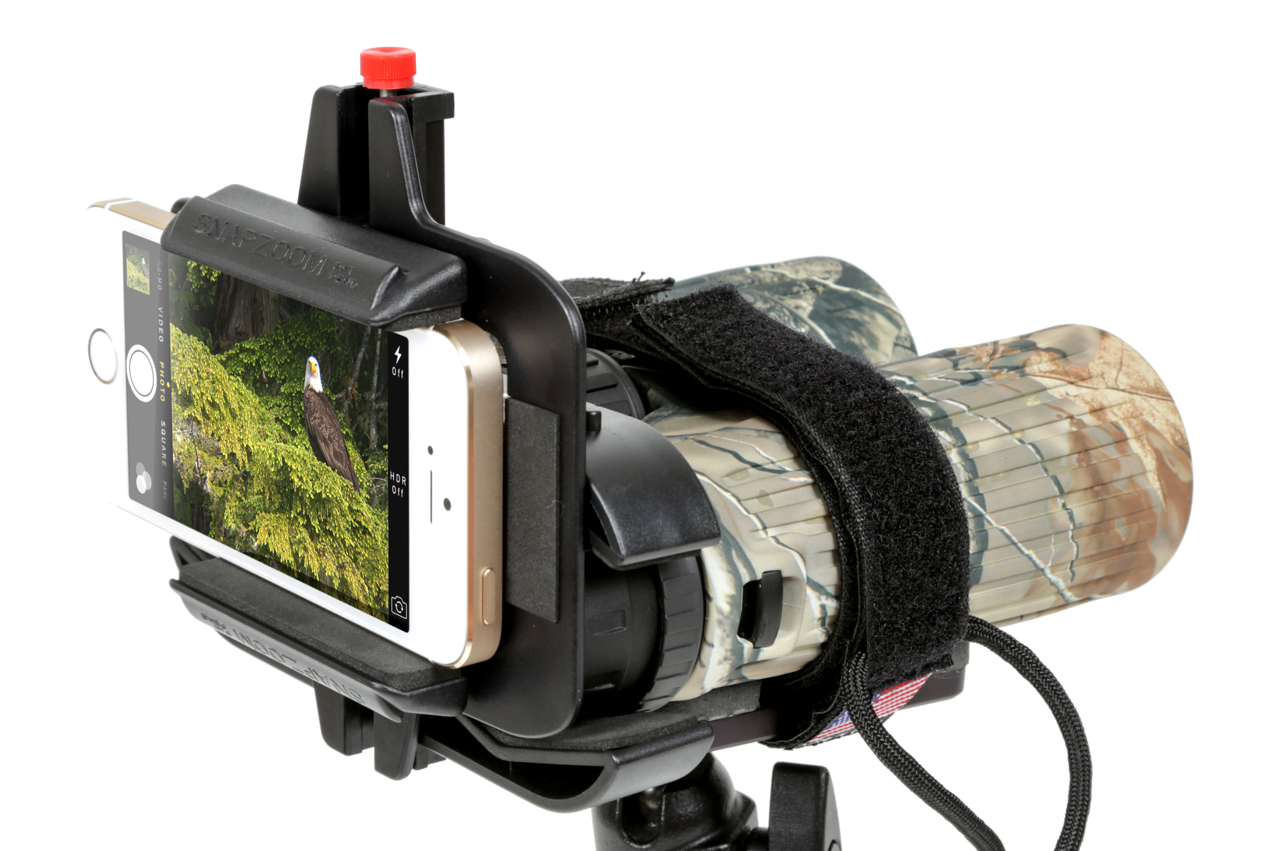 A simple velcro strap can help secure your Snapzoom set up to a tripod. We like  this one from Bushnell.