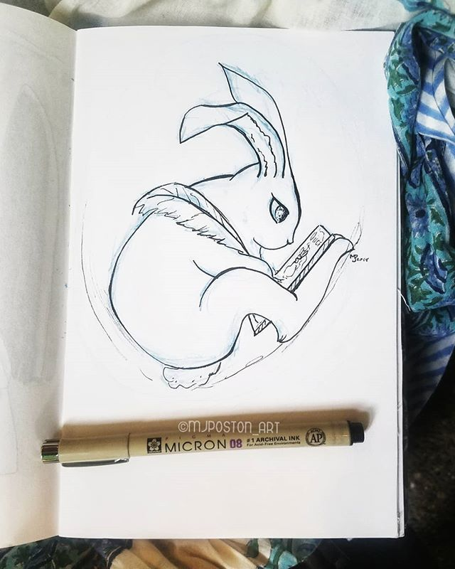 Did a quick ink of the #ebbogospels inspired bunny, I like how it turned out but think it needs another version, either way I'm enjoying using a medieval manuscript as an inspiration  Oh and the fun scarf I used as a quick background is from @sankara_imports it has elephants 🐘 . . #bunny #bunnyscribe #scribe #inspirations  #pnwcreatives #mjposton_art #illistratorsofinstagram #instaart #art #illustration #rabbit #rabbitsofinstagram #followme #artinspiration