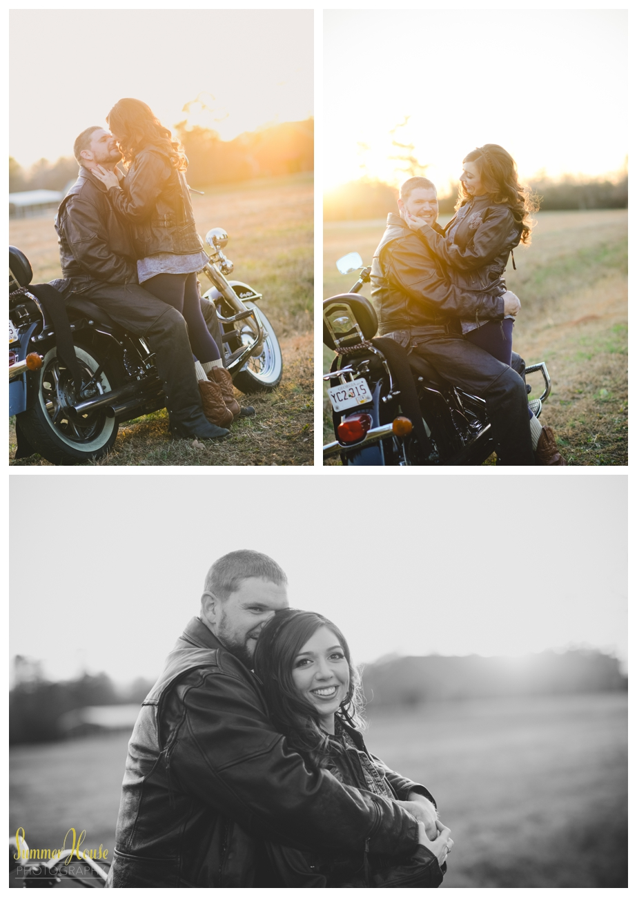 engagement pictures with motorcycle