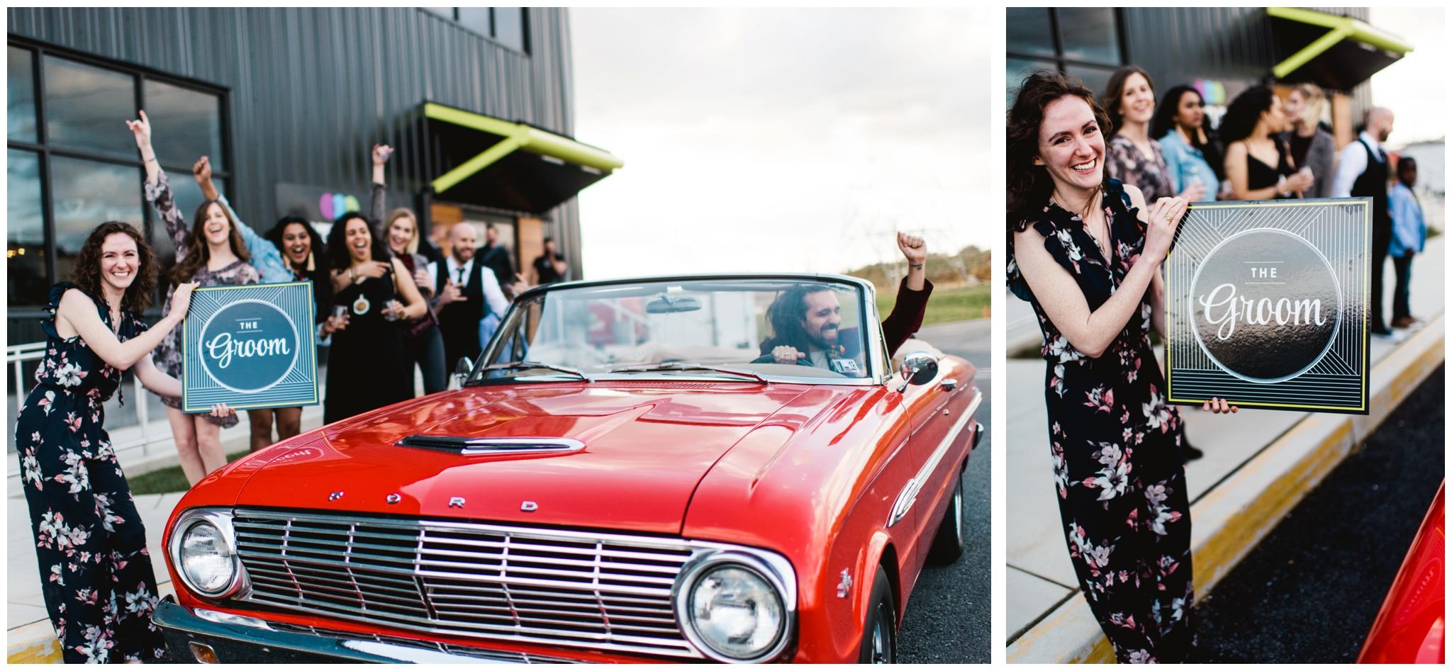 classic car wedding