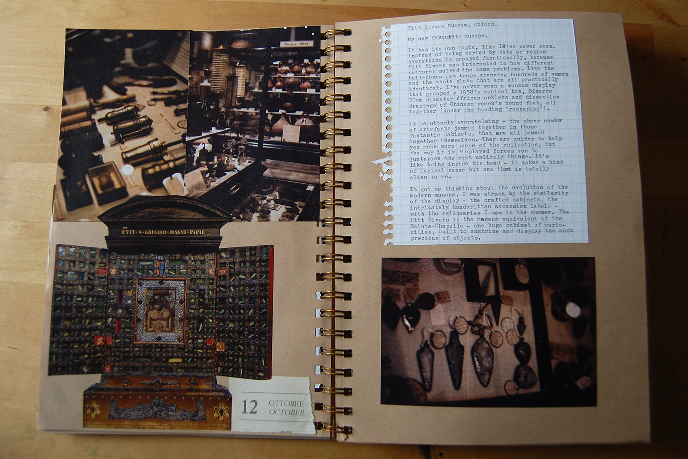 journal page for the pitt rivers museum, oxford. original photography.