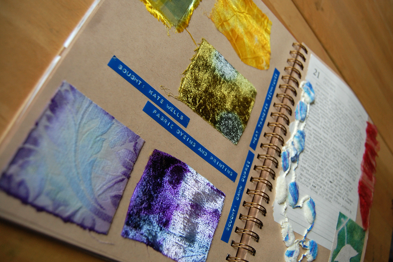 journal page for dye workshops.