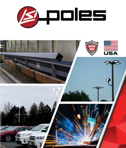 LSI POLES  LSI Lighting Solutions Plus offers a full line of poles and brackets to complete your lighting assembly. We apply the same high quality standards to our outdoor lighting poles and brackets as we do our lighting fixtures.  This is evident by the investments we've made in our specially designed 100,000 square foot finishing facility located in Blue Ash, Ohio. This facility is equipped with state-of-the-art technology and manufacturing processes to treat and finish LSI steel poles.  Every pole is provided with the  DuraGrip® Protection System  and a  5-year warranty :  Each shaft is purchased to a stricter straightness tolerance than specified on industry material standards. Shafts with dents, dings, roll marks, or patterns on the exterior surface are rejected. Shafts are stored indoors to prevent corrosion.  After connecting holes are cut and hand holes and baseplates welded to the shafts, each pole undergoes a thorough shot-peening process, resulting in a near-white surface. This procedure removes all dirt and scale and strengthens the surface of the steel by inducing a compressive residual stress that helps prevent cracking and extend the life of the pole.  After shot peening, a neutral wash is applied followed by the application of a zirconium treatment that improves powder-coast adhesion and protects from corrosion.  Next, each pole is coated through electrostatic application of a polyester powder paint in standard LSI bronze or the color approved by the customer. Paint thickness is measured in multiple locations along the pole to ensure specification adherence.  Finally, the pole is oven baked to form a homogenous, non-porous surface and wrapped for shipment in a woven fabric sleeve to protect the finish during transit.  When the top-of-the line  DuraGrip® Plus Protection System  is selected, in addition to the DuraGrip® Protection System, a non-porous, automotive-grade corrosion coating is applied to the lower portion of the pole interior, sealing and further protecting it from corrosion. This option extends the product coverage to a  7-year warranty .  LEARN MORE