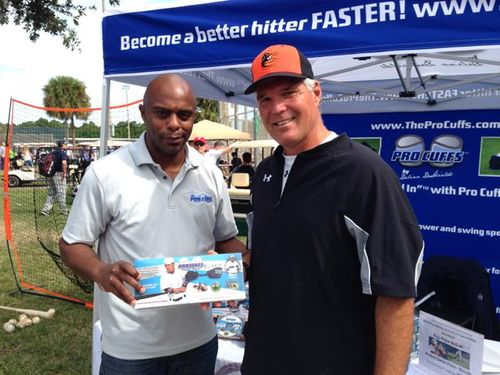 Delino DeShields with MLB and Orioles star Larry Sheets, known for his big time hitting.