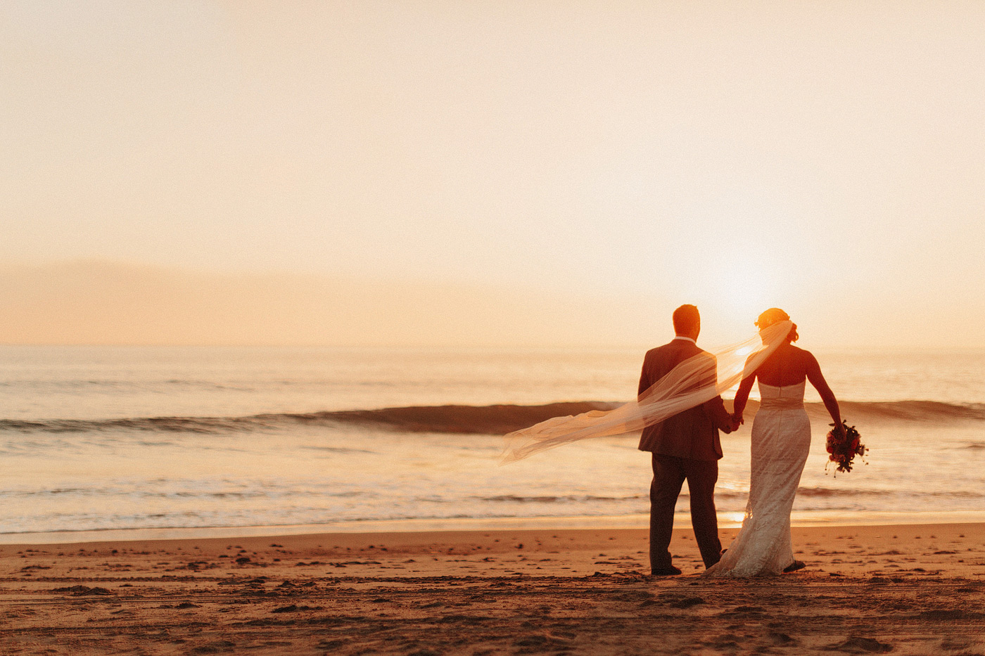 southern california beach wedding portrait