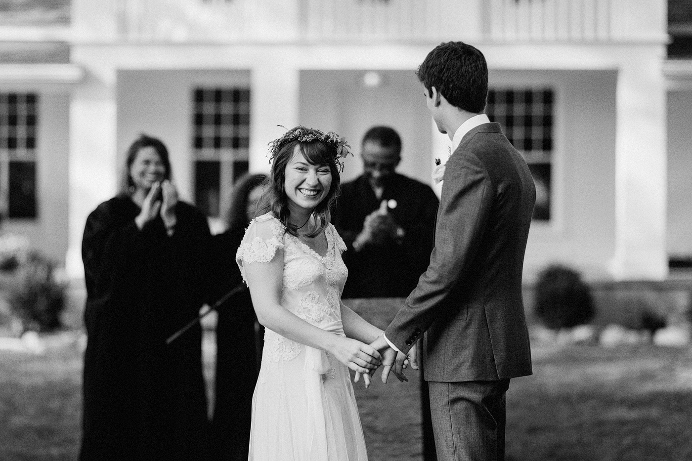 grand rapids ann arbor wedding photographer ceremony laughing