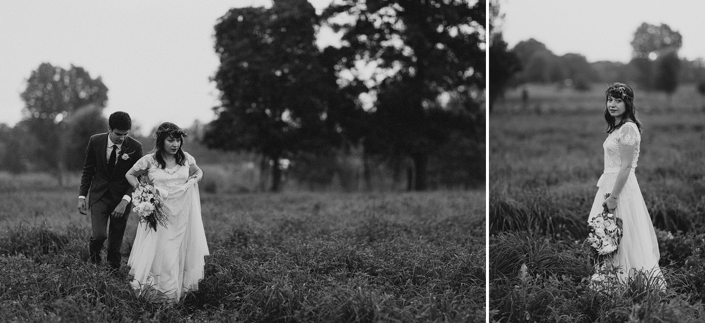 michigan bride and groom black and white dusk