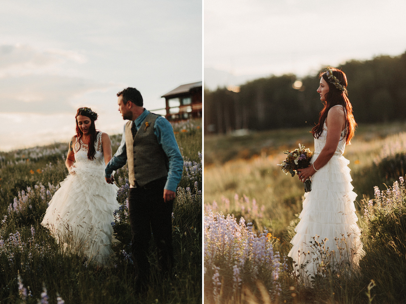 crested butte sunset portraits wedding floral crown wildflowers