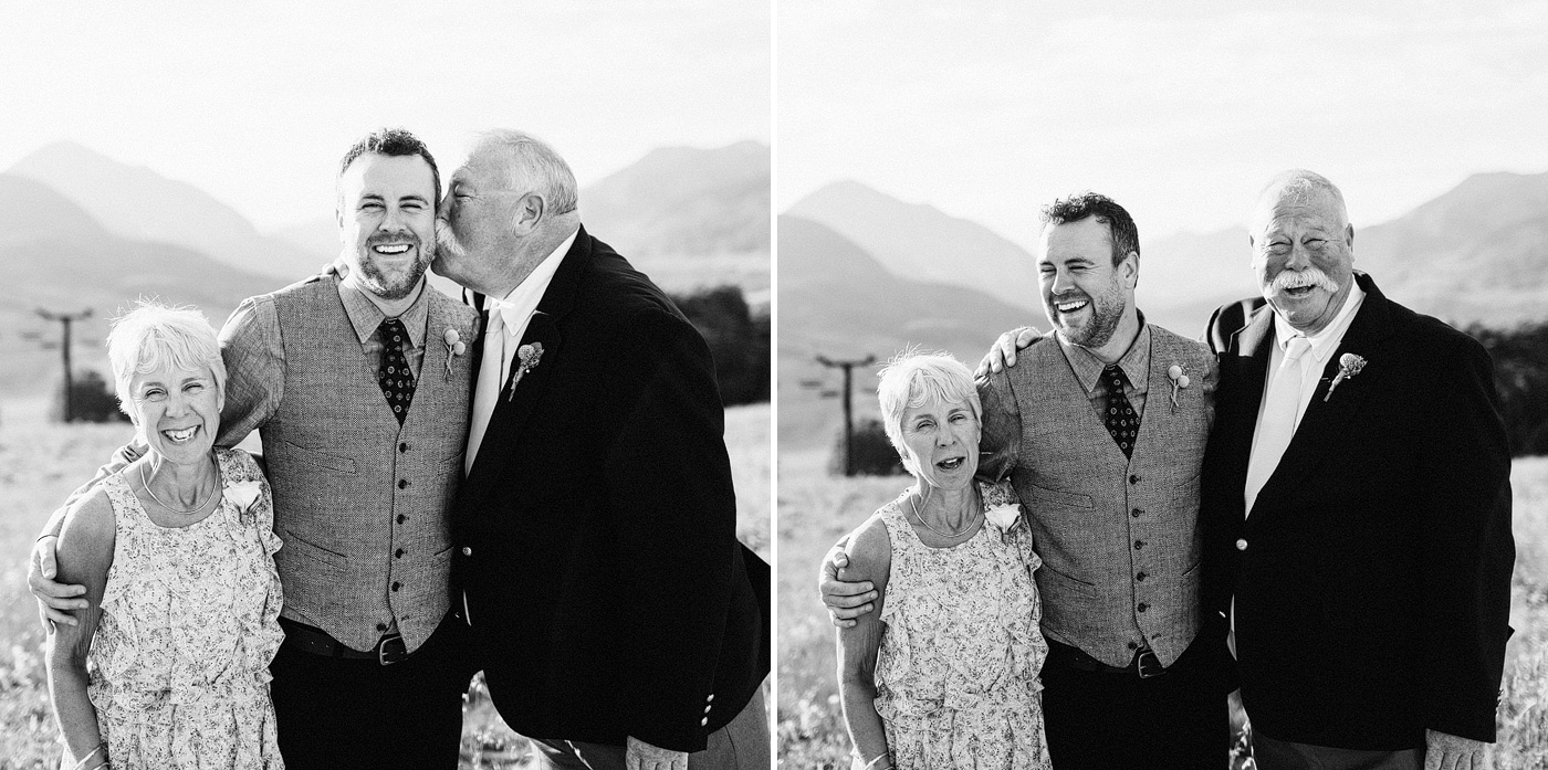 touching moment family son groom crested butte wedding