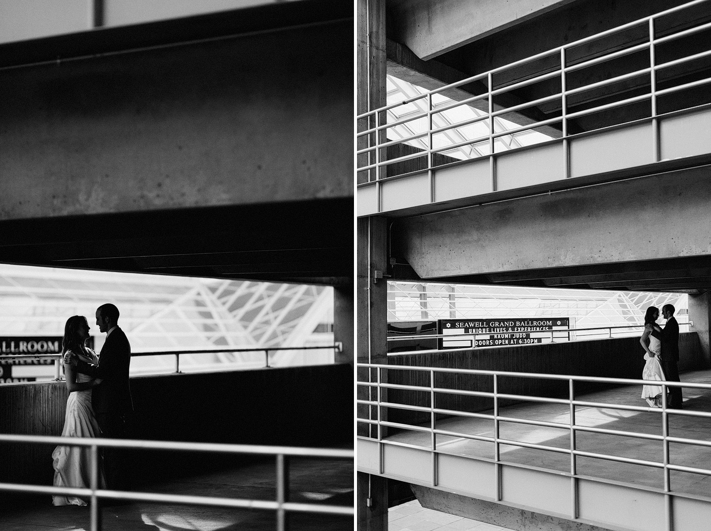 artistic urban wedding portraits parking garage