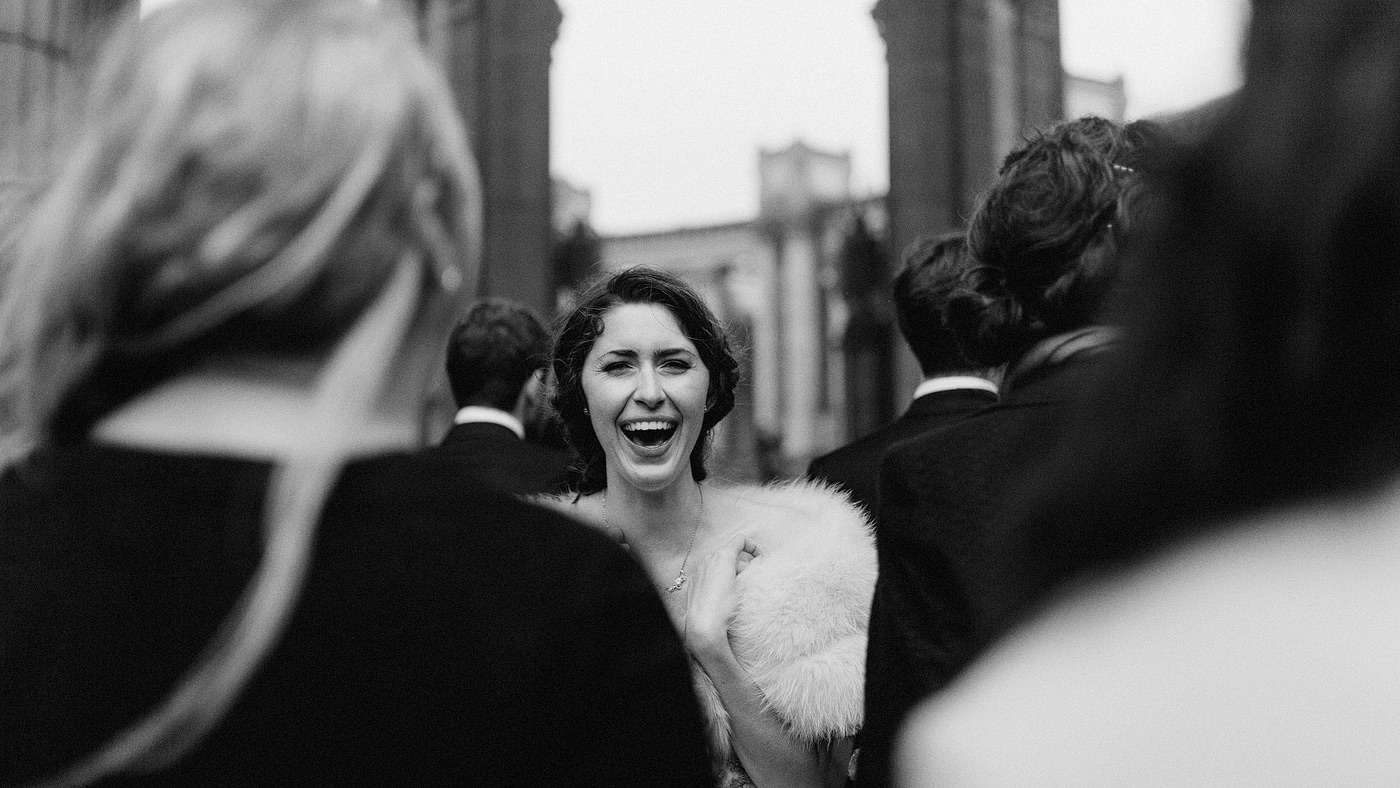 candid bride laughing san francisco