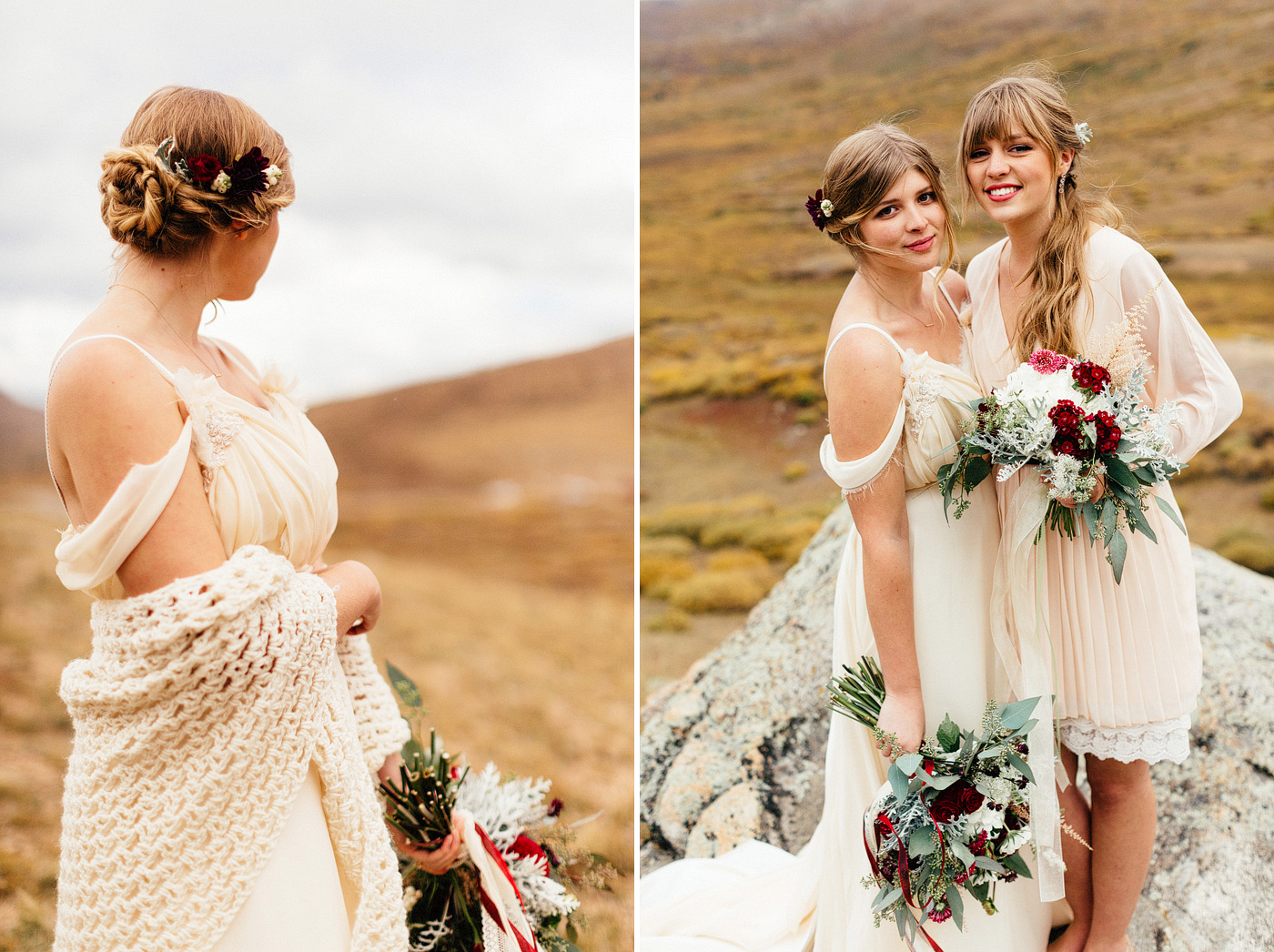 bride and maid of honor vintage dresses colorado mountain weddin