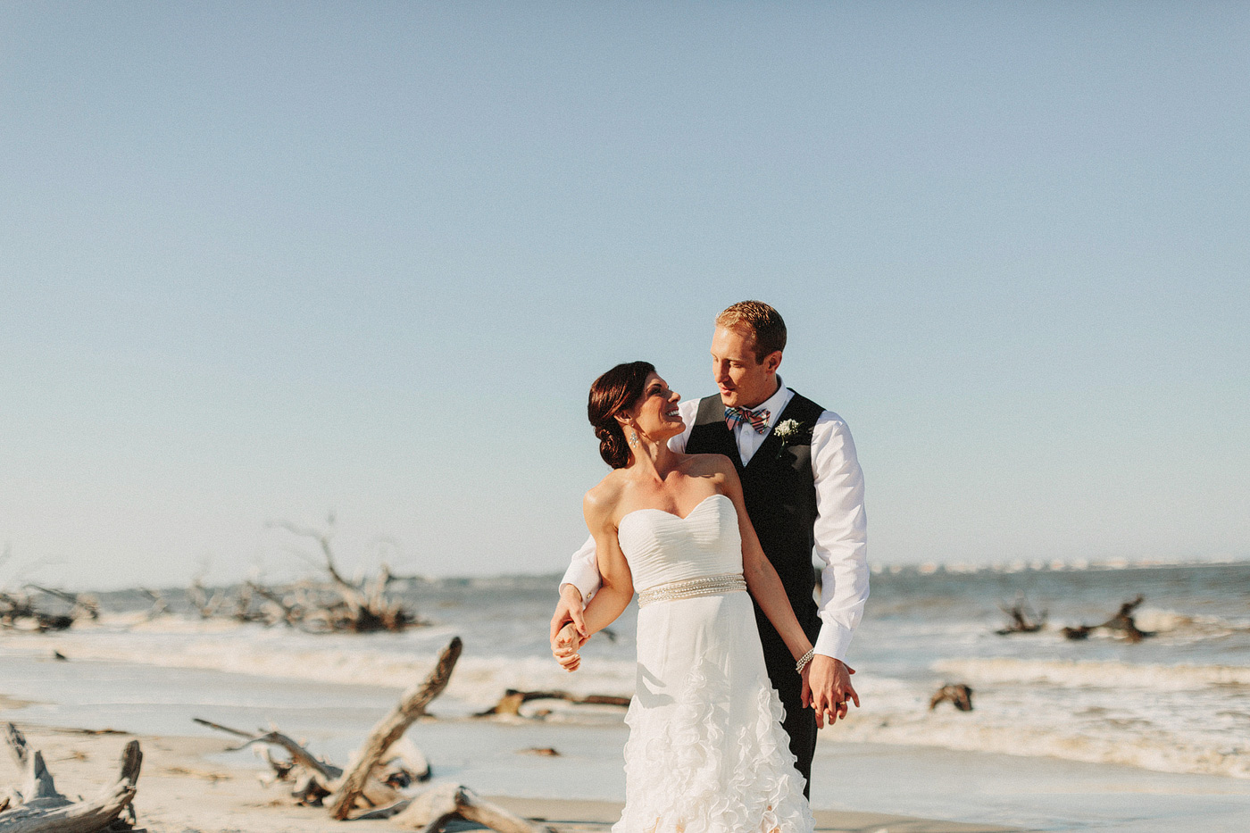 beach portrait bride and groom driftwood georgia destination wed