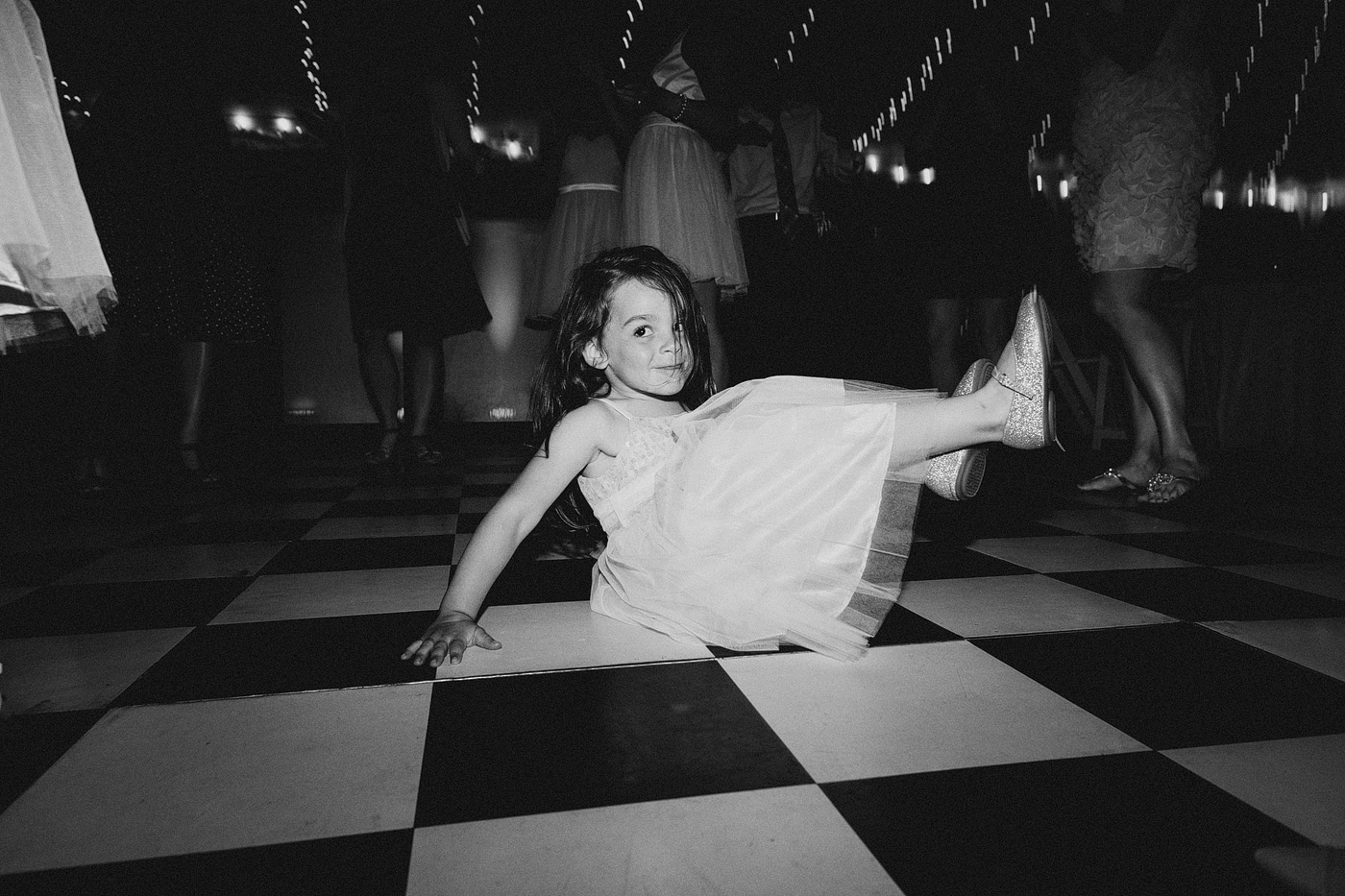 young girl dancing wedding reception