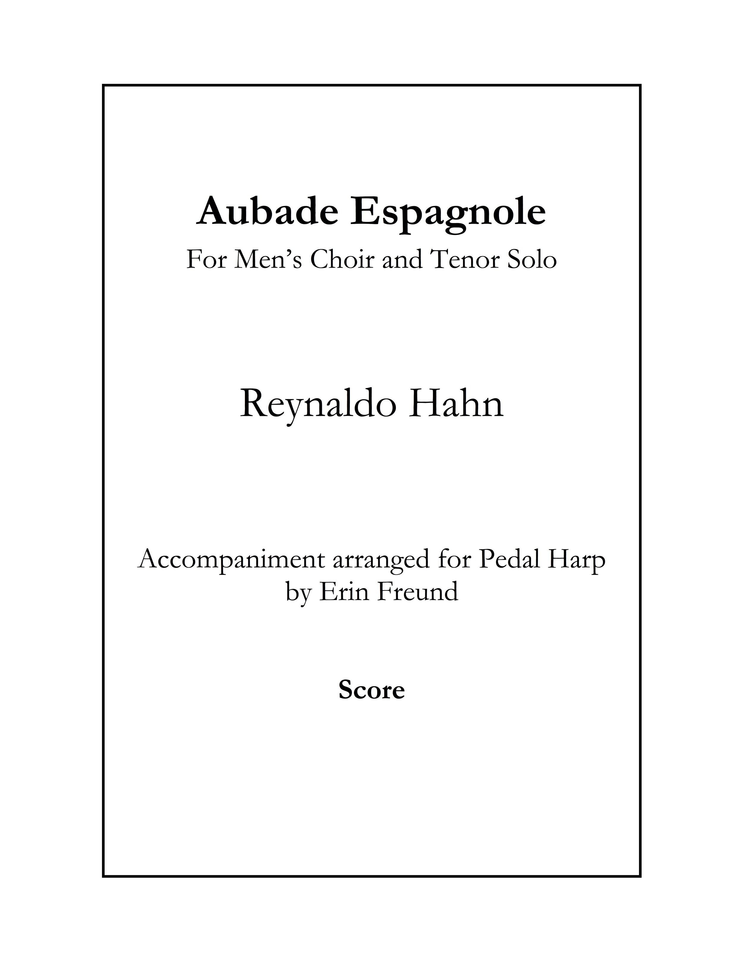Hahn aubade espagnole score cover.jpg