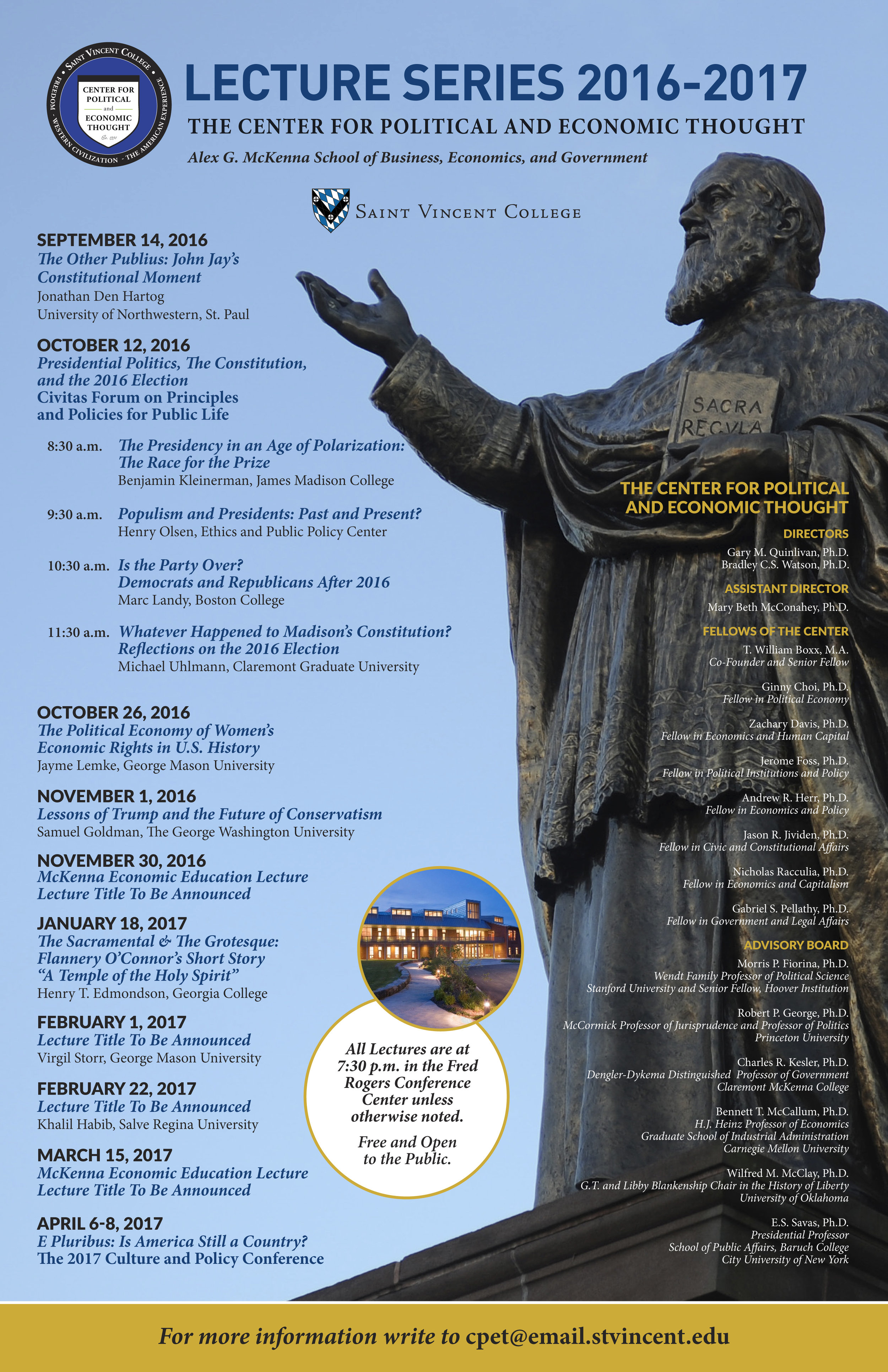CPET, Saint Vincent College, Lecture Series Poster