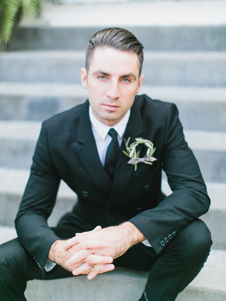 Shout out to Stacy, our groom model, who helped me carry in flowers before the shoot began. He didn't know his polite offer to help would be jumped at so quickly. So thanks again, Stacy! He's wearing the wild olive wreath boutonniere.