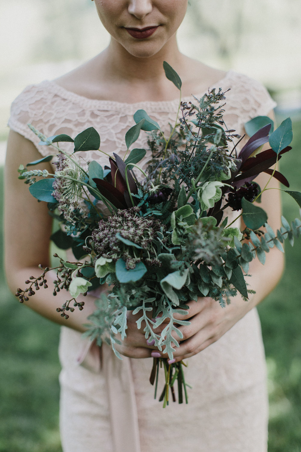 wild bridesmaid bouquet of greenery