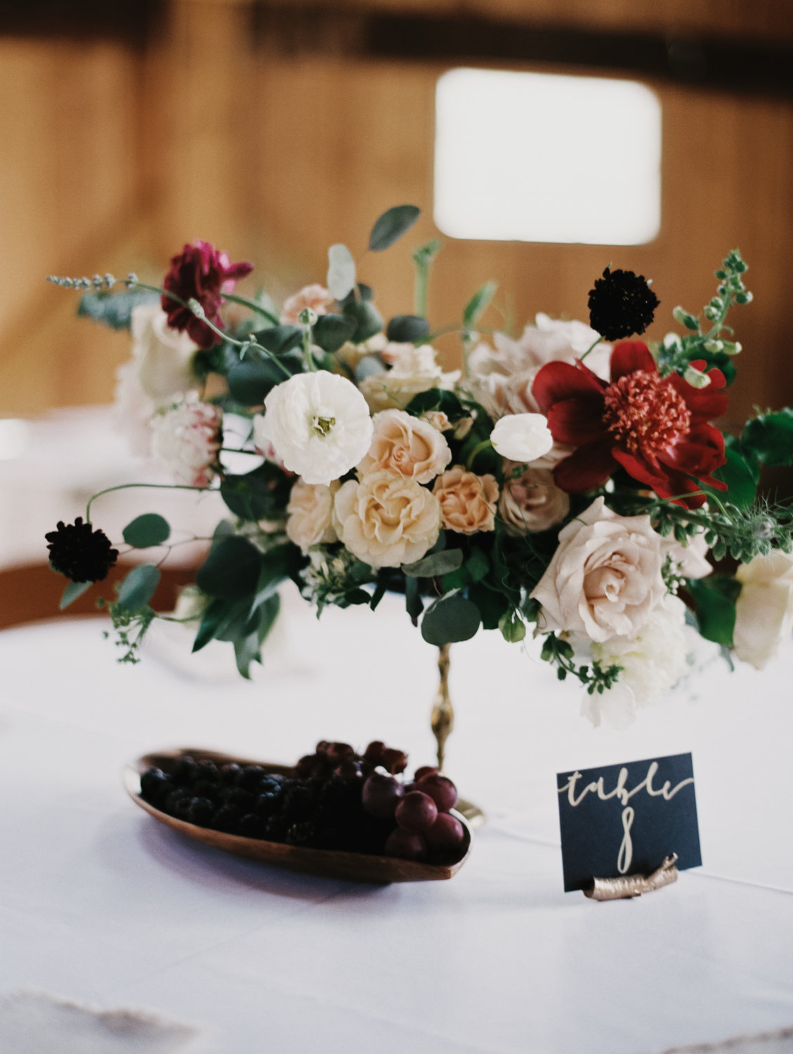 garden inspired centerpiece wedding blackberry and grapes