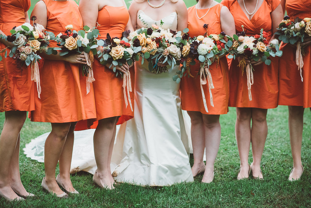peach cream blush loose bridal party bouquets