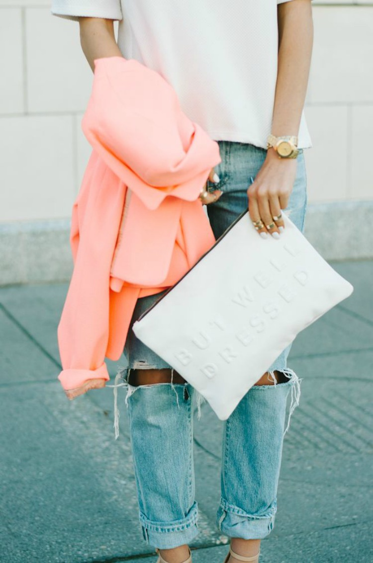 Peach & Ripped Jeans