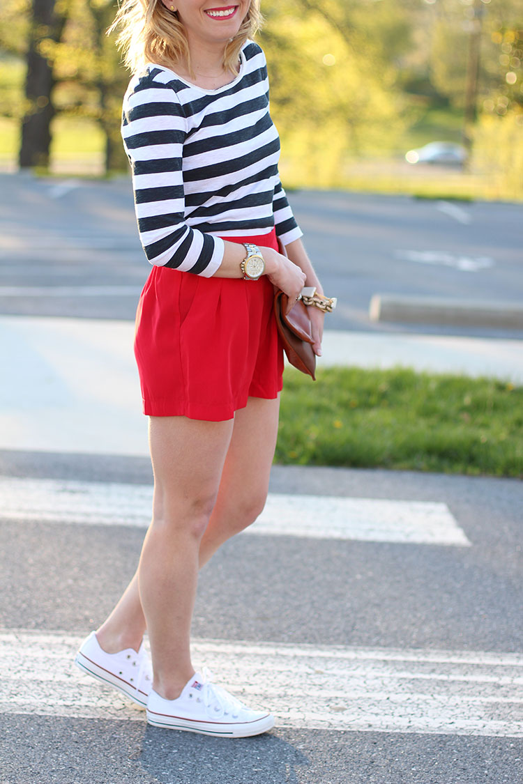 Striped Tee, Red Shorts & White Converse Chucks