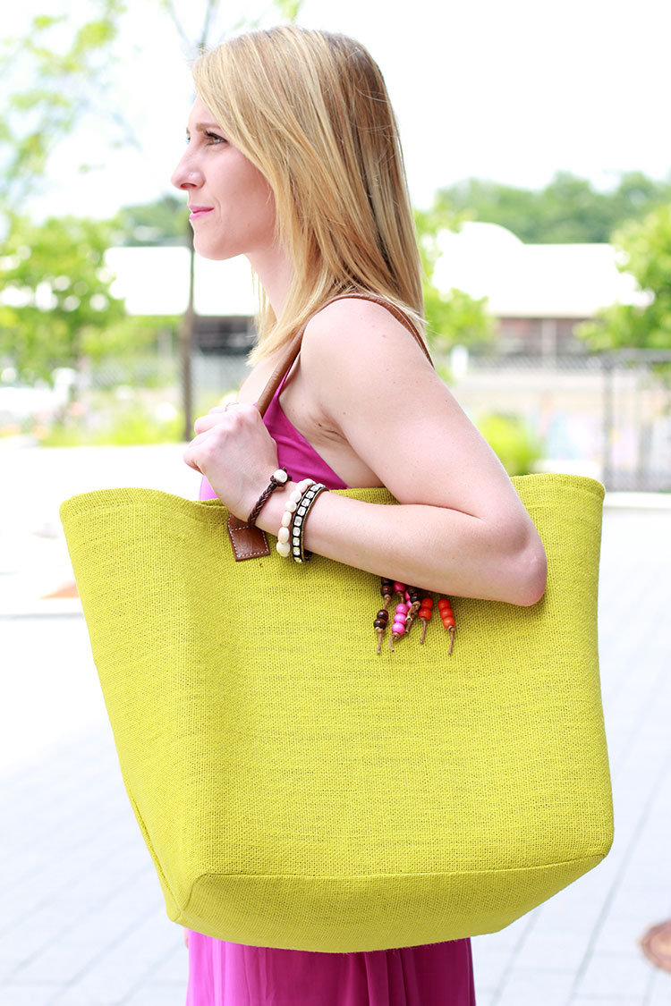 Lime Green Straw Tote