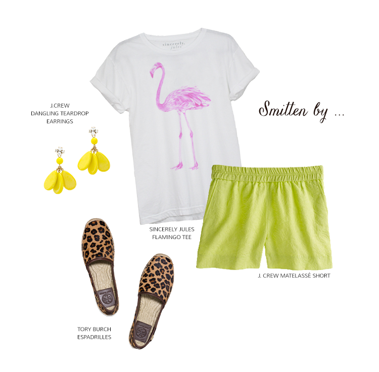 Smitten by... Sincerely Jules Famingo Tee, J. Crew Matelasse Short, Tory Burch Espadrilles & J. Crew Dangling Teardrop Earrings