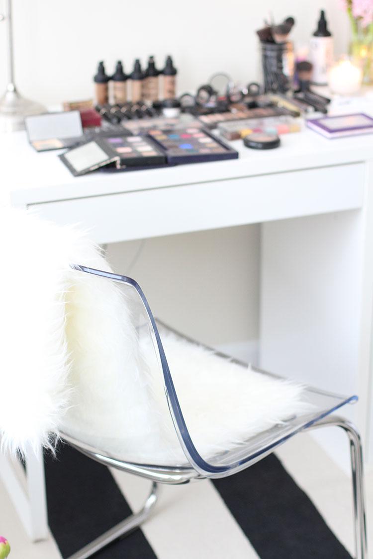 Lucite Chair & White Fur Rug