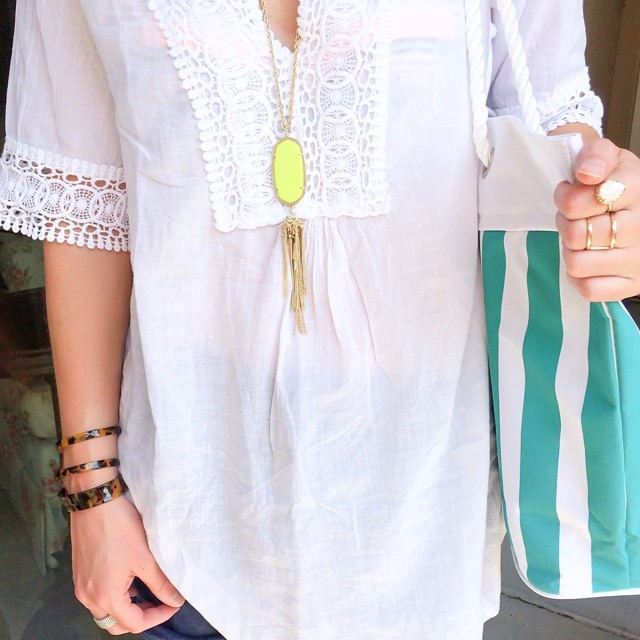 Styling: Talis Collection top. Sole Society bracelets, Crystal Faye tote, Kendra Scott necklace & Shop Zinke suite.