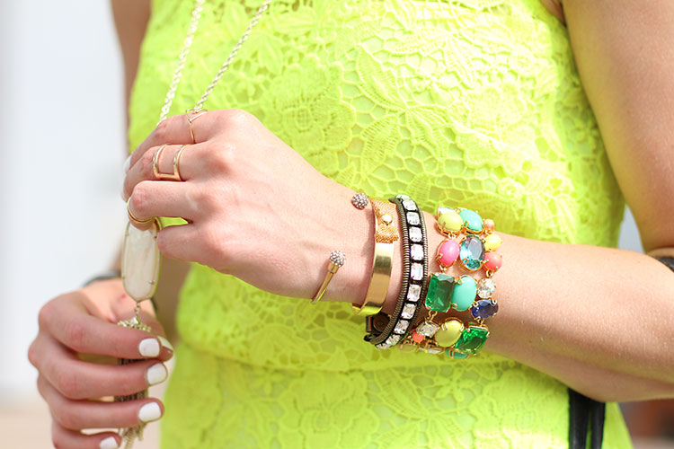 Colorful Accessories, Kendra Scott Rayne Necklace, J.Crew Lace Shift Dress, White Mani, Black Leather Tote, Loren Hope Clara Bracelet