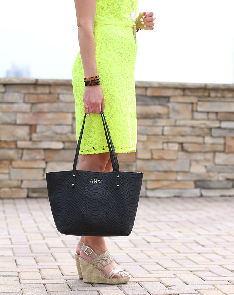 Lace Shift Dress, Neon Lace Dress, J.Crew Lace Shift Dress, Gigi New York Bag, Tortoise Bangles, Nude Wedge Sandals