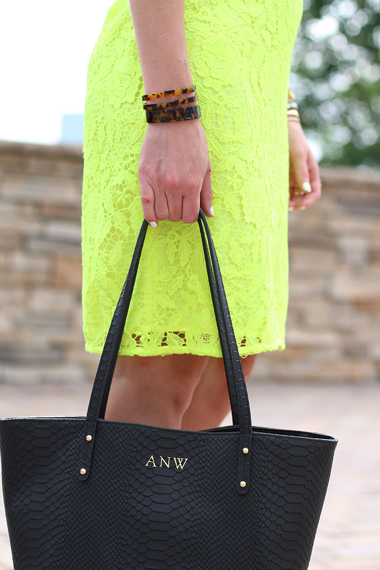 Gigi New York Black Tote, Tortoise Shell Bangles, Neon Lace Shift Dress, Neon Lace Dress, J.Crew Lace Shift Dress, Nude Wedge Sandals