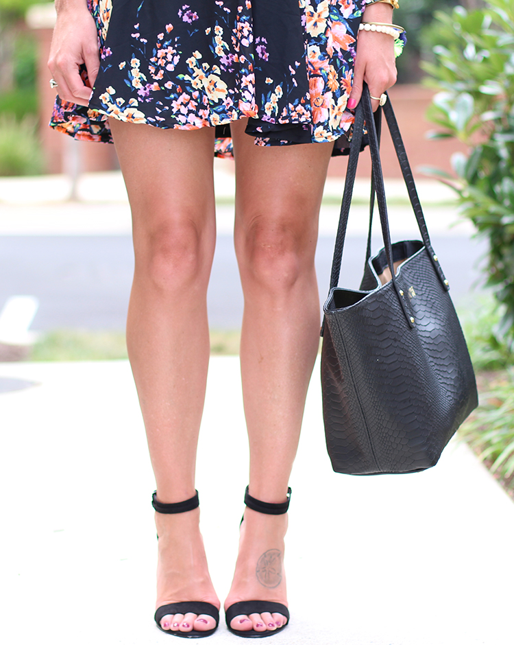 Black Zara Heel, Black Floral Dress, Summer Outfit Idea